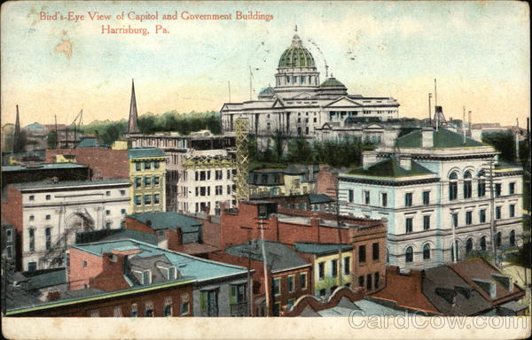 Bird's Eye View of Capitol and Government Buildings Harrisburg Pennsylvania