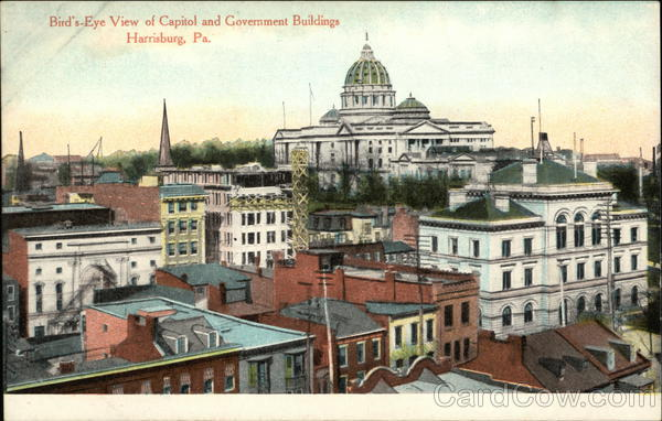 Bird's-Eye View of Capitol and Government Buildings Harrisburg Pennsylvania