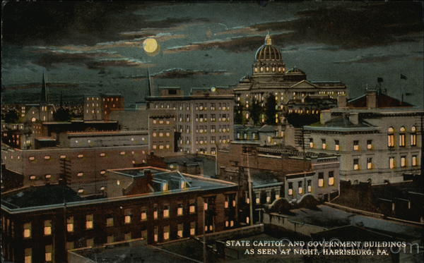 State Capitol and Government Buildings as Seen at Night Harrisburg Pennsylvania