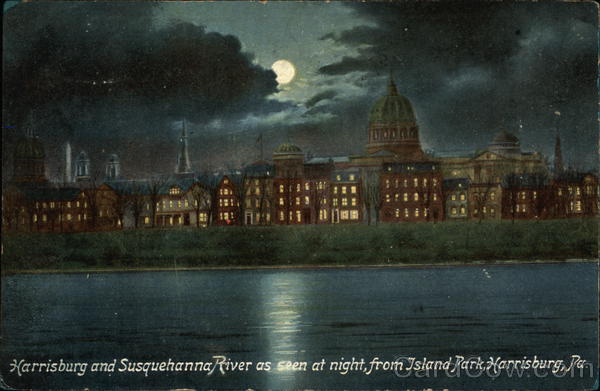 City and Susquehanna River as Seen at Night, From Island Park Harrisburg Pennsylvania
