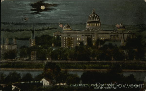 State Capitol from Fort Washington at Night Harrisburg Pennsylvania