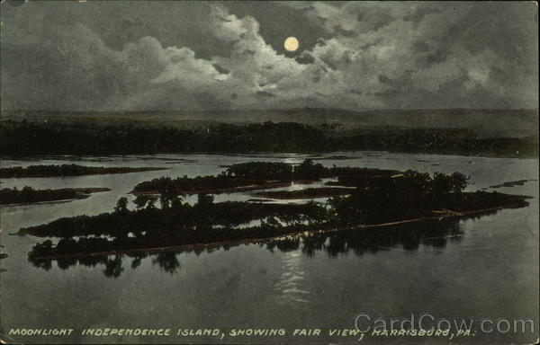 Moonlight Independence Island, Showing Fair Views Harrisburg Pennsylvania
