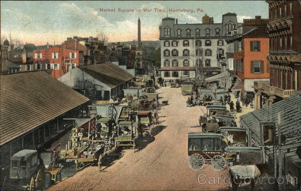 Market Square in War Time Harrisburg Pennsylvania