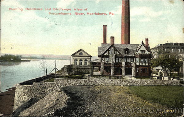Fleming Residence and Bird's-eye View of Susquehanna River Harrisburg Pennsylvania