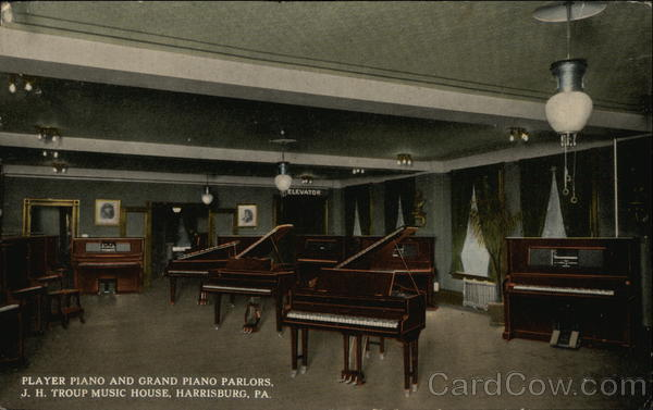 Player Piano and Grand Piano Parlors, J.H. Troup Music House Harrisburg Pennsylvania