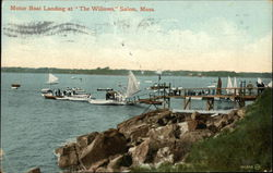 "Motor Boat Landing at ""The Willows"""