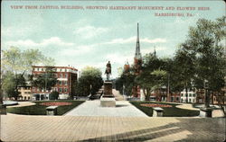 View from Capitol Building, Showing Hartranft Monument and Flower Beds