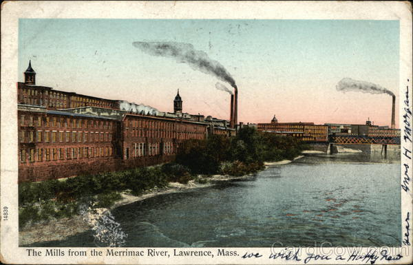 The Mills from the Merrimac River lawrence Massachusetts