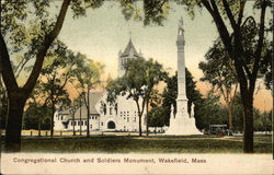 Congregational Church and Soldiers Monument Postcard