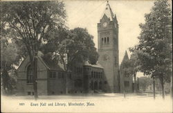 Town Hall and Library Postcard