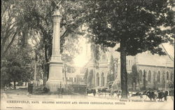 Soldiers Monument and Second Congregational Church Postcard