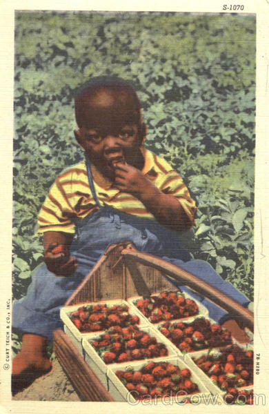 Black Child Eating Strawberries Black Americana