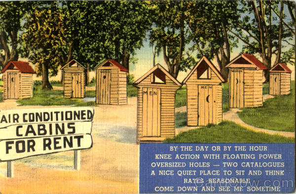Air Conditioned Cabins For Rent - outhouses Comic, Funny