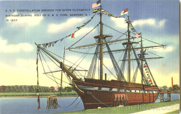 U. S. S. Constellation Dressed For Queen Elizabeth's Birthday During Visit Of H. M. S. York Newport Rhode Island
