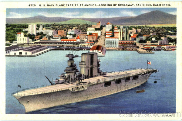 U. S. Navy Plane Carrier At Anchor San Diego California