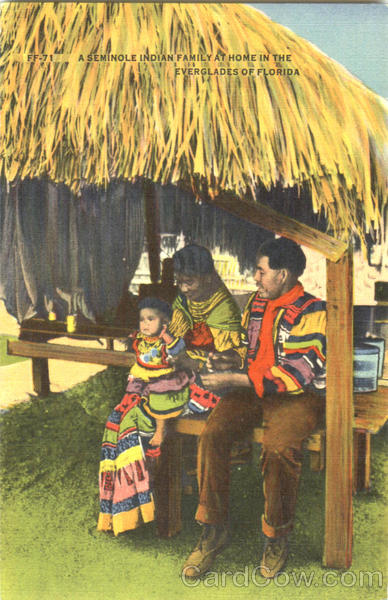 A Seminole Indian Family At Home In The Everglades Of Florida