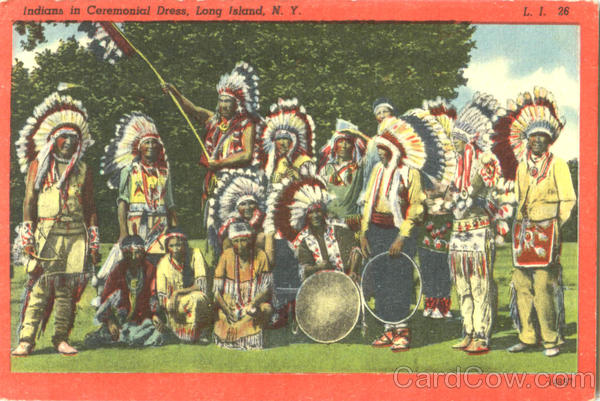 Indians In Ceremonial Dress Long Island New York