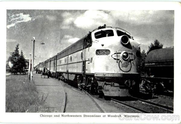 Chicago And Northwestern Streamliner At Woodruff Wisconsin