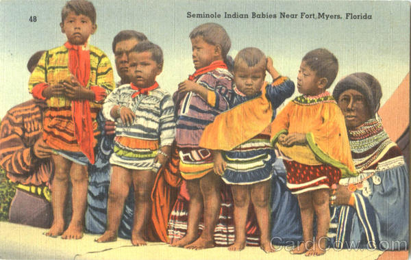 Seminole Indian Babies Near Fort Myers Florida