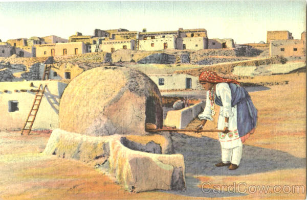 Pueblo Indian Woman Baking Bread Native Americana