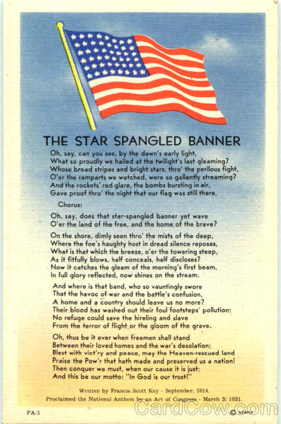 The Star Spangled Banner Patriotic Lyrics OaQCZVmT