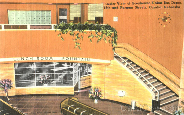 Interior View Of Greyhound Union Bus Depot , 18th And Farnam Streets Omaha Nebraska