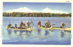 Indian Tribe in Canoes