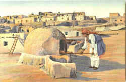 Pueblo Indian Woman Baking Bread