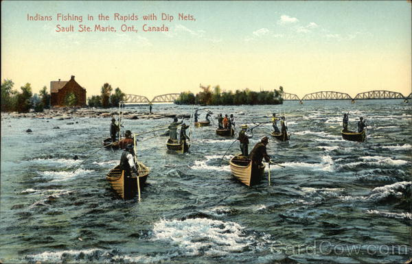 Indians Fishing in the Rapids with Dip Nets Sault Ste. Marie Canada