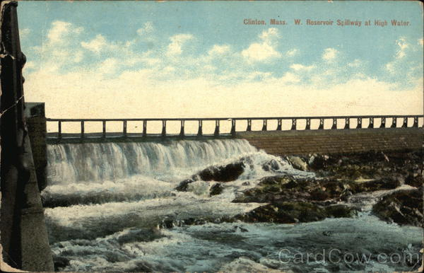 w. Reservoir Spillway at High Water Clinton Massachusetts