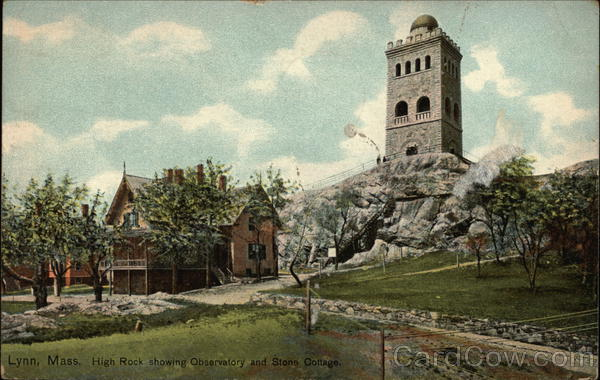 High Rock Showing Observatory and Stone Cottage Lynn Massachusetts