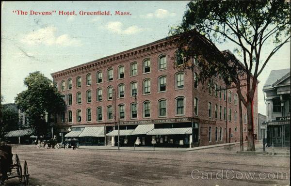 The Devens Hotel Greenfield Ma Postcard