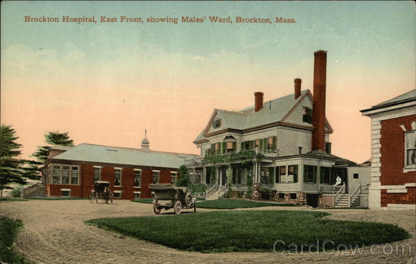 Brockton Hospital, East Front, showing Males' Ward Massachusetts