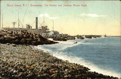 Breakwater, Old Harbor and Steamer Mount Hope
