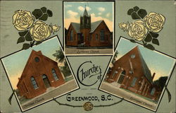 Churches of Greenwood, SC Postcard