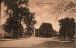 Store, Library and Street, Sunderland, Mass.