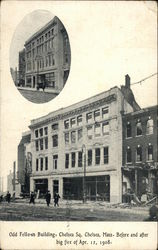 Odd Fellows Building, Chelsea Sq. Before and After Big Fire of Apr. 12, 1908