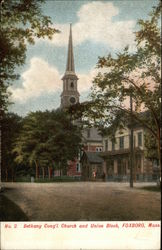 Bethany Congregational Church and Union Block Postcard