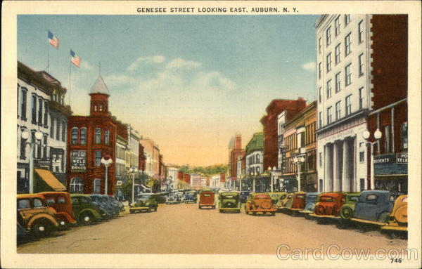 Genesee Street Looking East Auburn New York