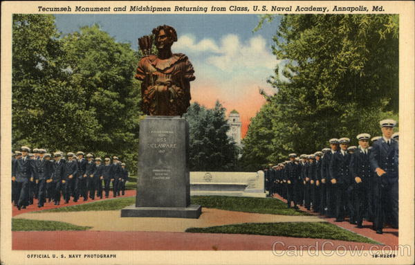 Tecumseh Monument and Midshipmen Returning From Class, U.S. Naval Academy Annapolis Maryland