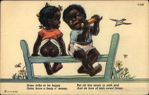 Two Black Children on Fence Black Americana