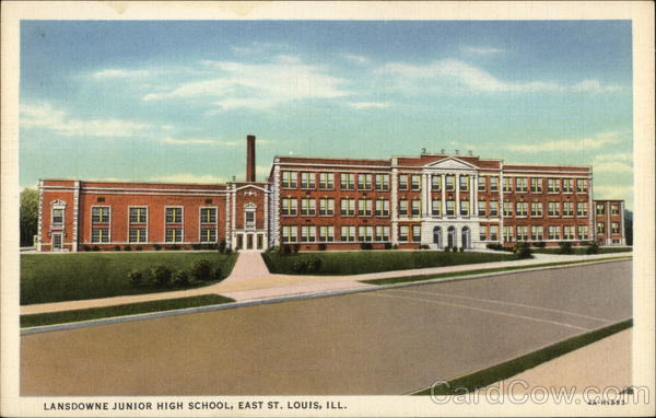 lansdowne junior high school east st  louis  il postcard