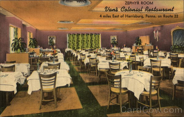 Zephyr Room, Van's Colonial Restaurant Harrisburg Pennsylvania