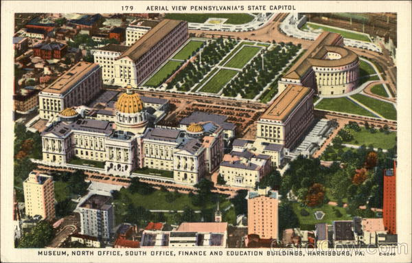 Aerial View of Pennsylvania's State Capitol Harrisburg