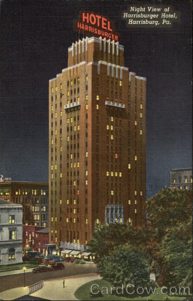 Night View of Harrisburger Hotel Pennsylvania
