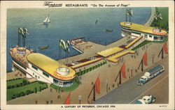 "Thompson's Restaurants ""On the Avenue of the Flags"" Postcard"
