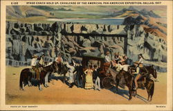 Stage Coach Hold Up, Cavalcade of the Americas, Pan-American Exposition 1937 Postcard