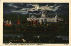 State Capitol from Fort Washington, at night, Harrisburg, PA
