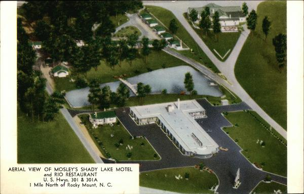 Aerial View of Mosley's Shady Lake Motel and Rio Restaurant Rocky Mount North Carolina