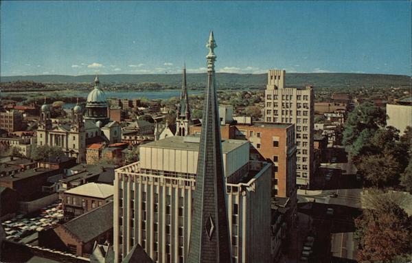 Birds Eye View showing Saint Patrick's Cathedral Harrisburg Pennsylvania